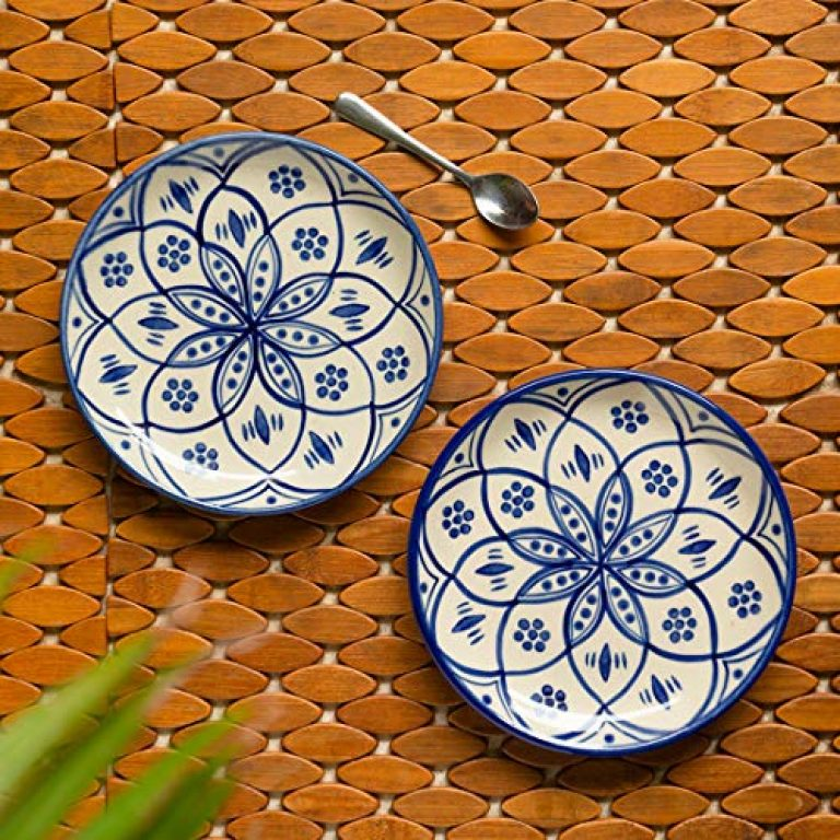 ExclusiveLane 'Moroccan' Hand Painted Studio Pottery Ceramic Side Plates & Ceramic Quarter Plates (7 Inch, Set of 2, Microwave Safe) – Ceramic Plates for Dinner Serving Plates Starter Snacks Plates