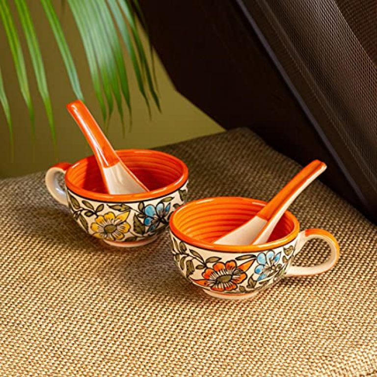 ExclusiveLane 'Mughal Bagheecha' Handpainted Ceramic Soup Bowls with Spoons & Handle (Set of 2, 250 ML, Microwave Safe, Dishwasher Safe) – Ceramic Soup Bowl Set with Spoon Soup Cups Set Ceramic Bowls