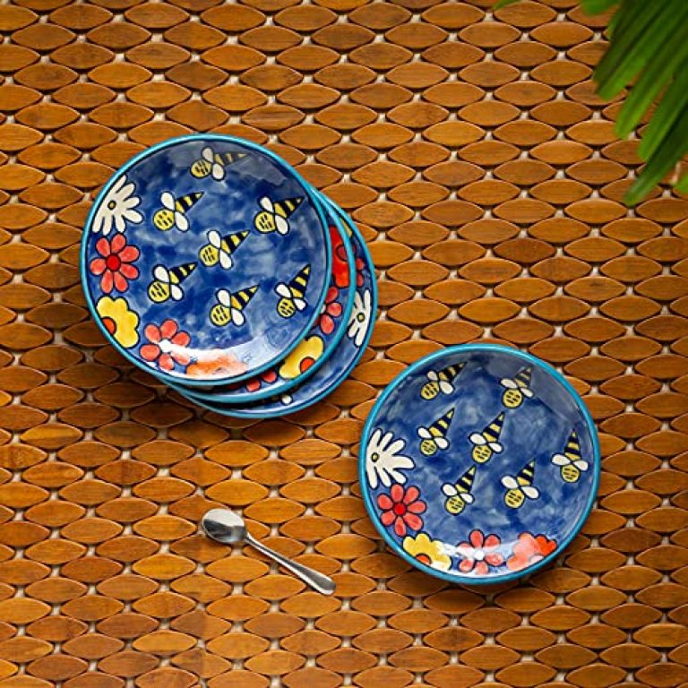 ExclusiveLane 'The Bee Collective' Handpainted Small Ceramic Microwave Safe Plates Quarter Side Snacks Serving Plates (Blue, Set of 4 )