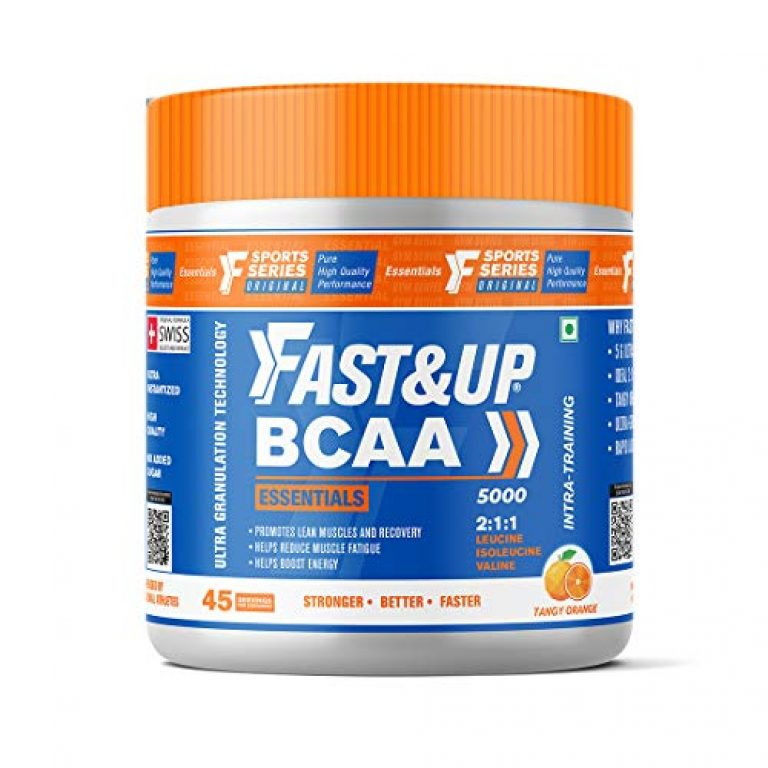 FAST&UP BCAA Essentials (45 Servings, Orange Flavour) BCAA Supplement with 2:1:1 Ideal Ratio Leucine, Isoleucine & Valine – Pre/Post & Intra Workout Supplement For Recovery & Performance Boost, White