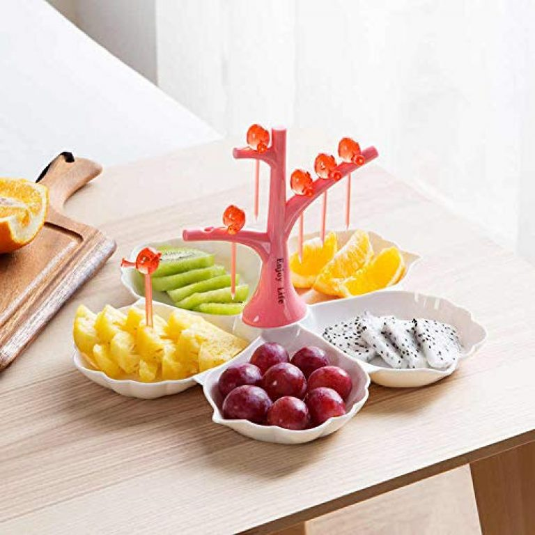 FEELING MALL Creative Snack Dish, Five trellised Family Fruit Desserts with Nuts, Home Plate, Evening Serving Tray, Fork, Bird, Christmas Candy