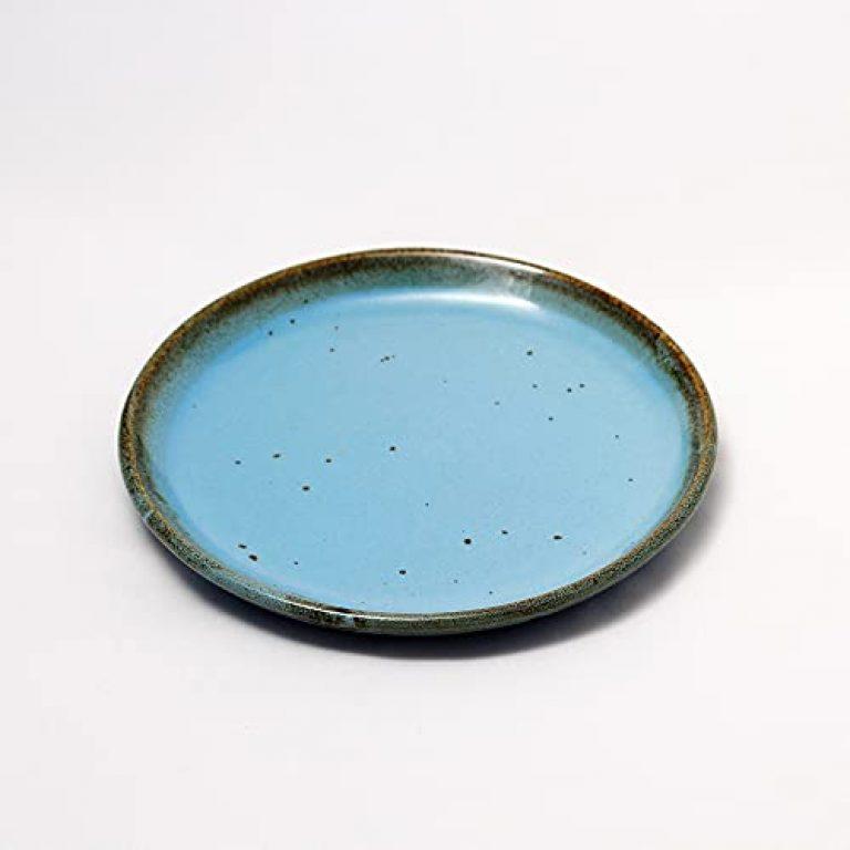 "FXM Living Studio Pottery Tableware Serving Ceramic Dinner Plate ,2 pcs , Sky Blue, 10"" inch"