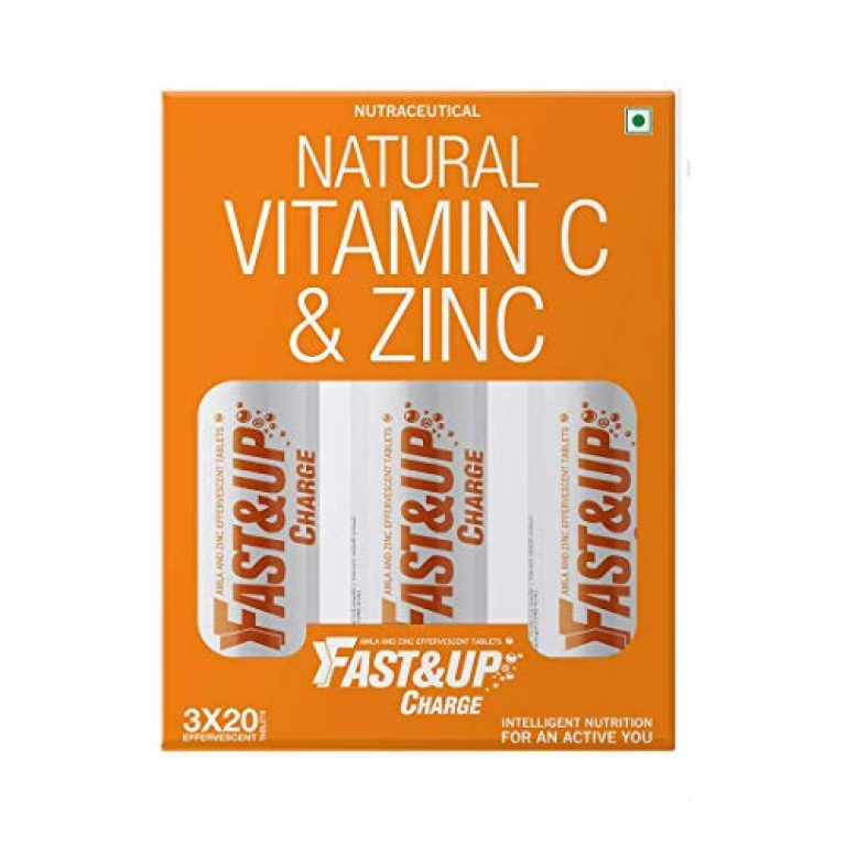 Fast&Up Charge – Vitamin C – Zinc – Natural Amla Extract – Antioxidants – Immunity – skin care – family pack – 60 Effervescent Tablets – Orange Flavor