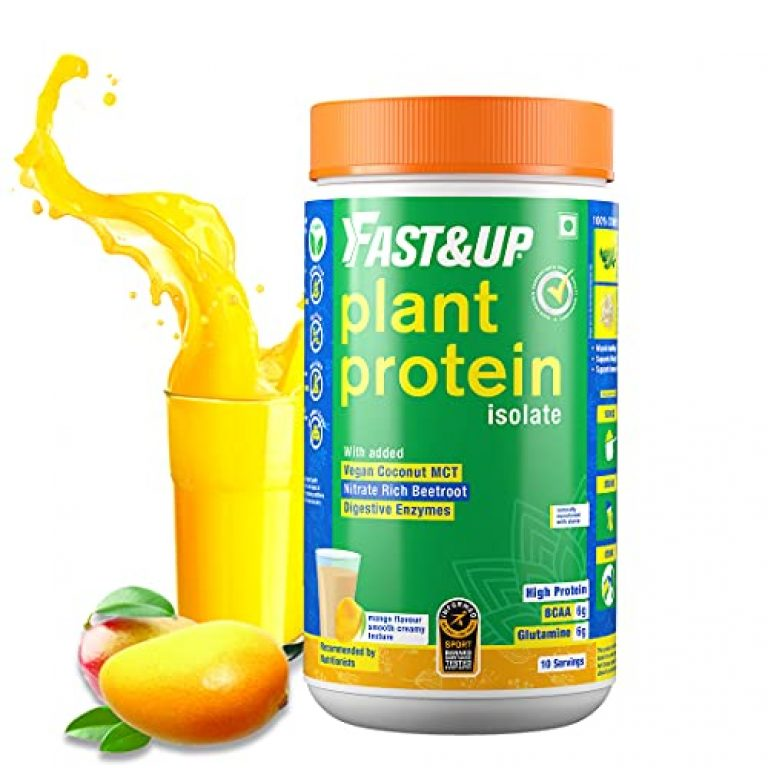 Fast&Up Plant Protein (450g) 30g Protein 100% Organic Daily Vital Nutrition Vegan Protein Drink For Men & Women – Gluten Free, Lactose Free, Soy Free – For Strength Recovery & Energy Boost, Improves Everyday Fitness & Fills Nutritional Gap in Daily Diet