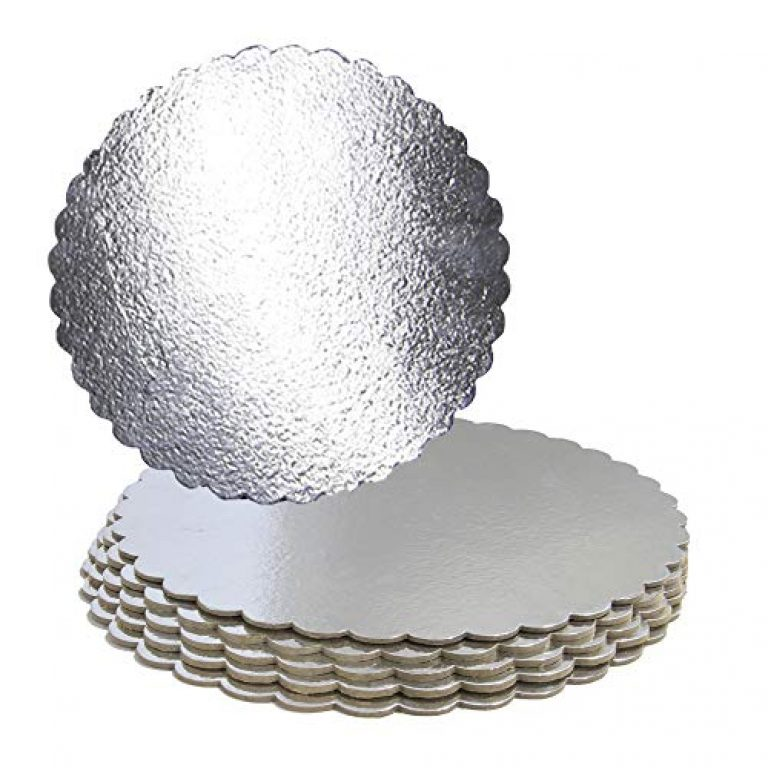 FineDecor Silver Cake Board 7 INCH Round Cardboard (5 Pieces), Cardboard Round Cake Circle Base, 7 Inches Diameter (Silver)