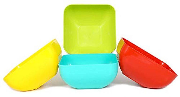 Fixoria Large Capacity Plastic Bowls Salad Bowl Food Noodle Rice Soup Serving Bowl Plastic Pasta Cereal Kids Dessert Serving Camping Snacks Mixing Bowls (Set of 4, Square Shape)