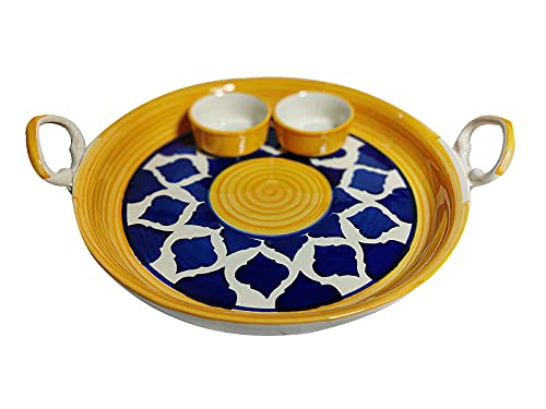 Fliic Ceramic Chip and Dip Tray Hand Painted Platter with 2 Fixed Bowls, Pack of 1