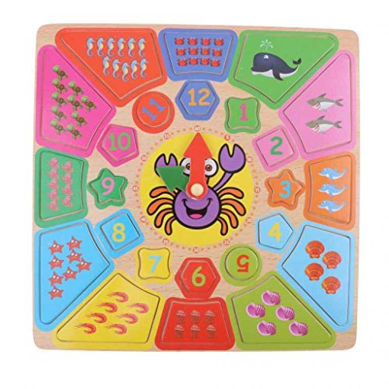 FunBlast Wooden Puzzle Clock Learning Toys for Kids, Educational Learning Toys for Kids, Toddlers – Multi Color