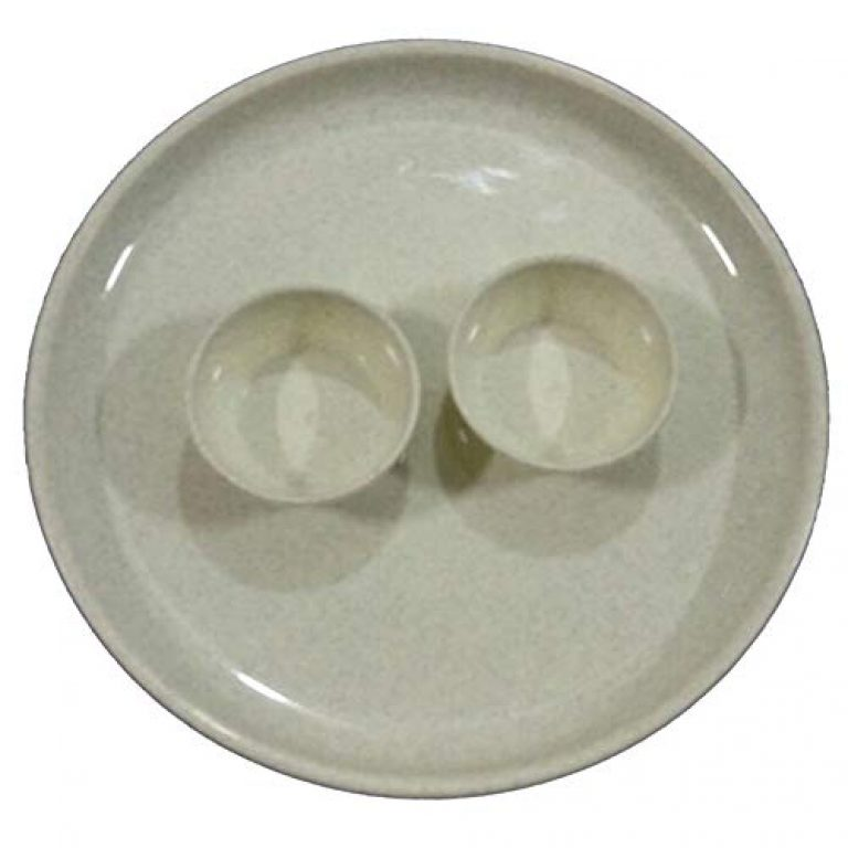 Generic Plastic Round Dinner Plate with Bowl 12.75 inch Cream Pack of 12 Set