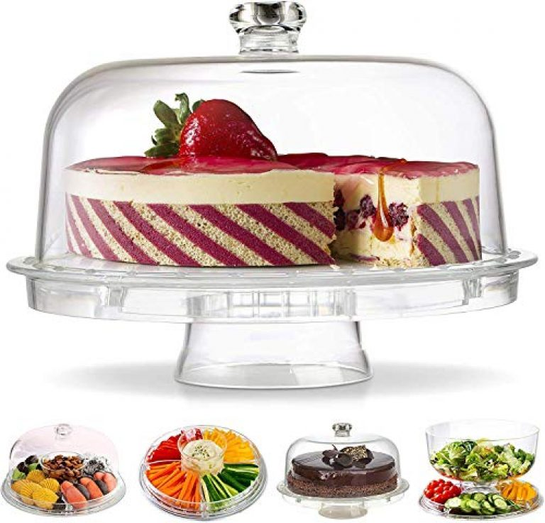 Gijaxe 3-in-1 Acrylic Cake Stand with Dome Cover Lid Multi-Functional Serving Platter and Cake Plate – Use as Cake Holder,Salad Bowl,Punch Bowl,Veggie,Desert Platter,Nachos,Salsa Plate(6 Uses)