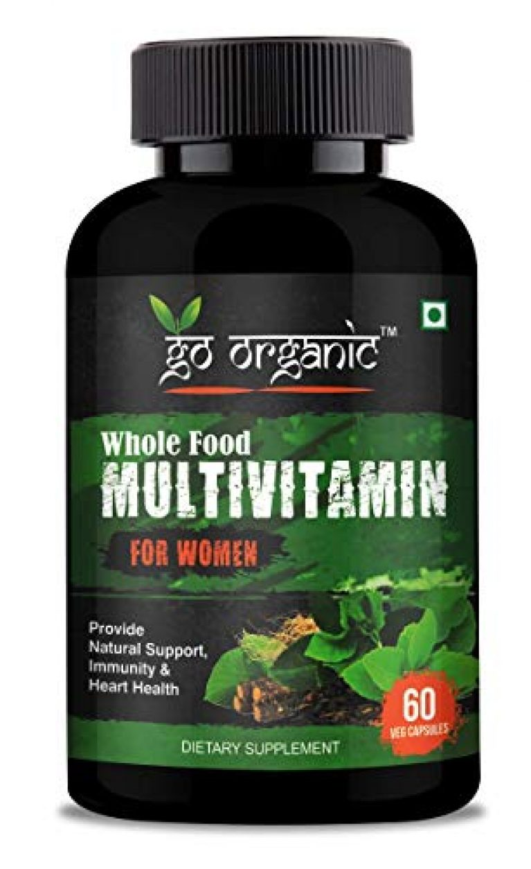 Go Organic Organic Whole Food Multivitamin for Women – Natural Vitamins, Minerals, Raw Organic Extracts – Best Supplement for Energy and Heart Health – Vegan – Non GMO – 60 Capsules (Women), green