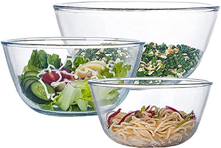 Go Well Glass Mixing Bowl Set of 3 for Kitchen, Baking, Prepping, Serving, Cooking, Big Medium Salad Bowl Set, 3 Pieces High Borosilicate Bowl Set, Non-Toxic, Microwavable (500 Ml, 1000Ml, 1500Ml)