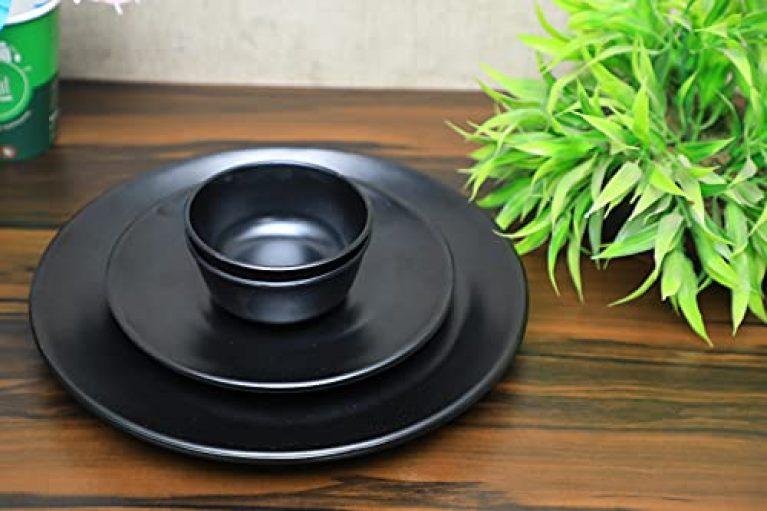 Greenland Pack of 6 Black Spiral Opalware Dinner Set – Full Plate, Half Plate and Veg. Bowl. (Black, Serves 2)