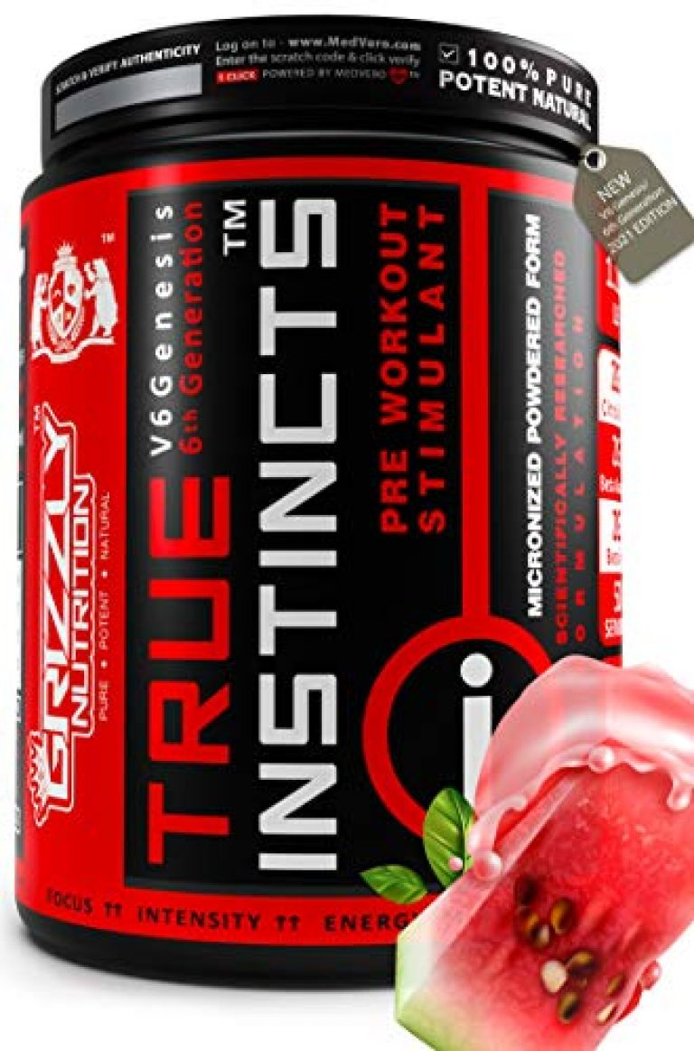 Grizzly Nutrition True Instincts Pre Workout – V6 Genesis-/6th generation 300gram/ upto 60 Servings, citrulline, beta alanine, theanine +13 performance boosters (Watermelon Tequila Flavour)