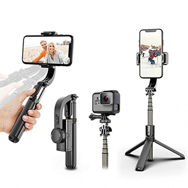 HOLD UP� 1-Axis Handheld Gimbal Stabilizer for Smartphone with Extendable Bluetooth Selfie Stick and Tripod, Multifunction Remote 360� Automatic Rotation, for iPhone/Android