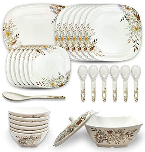 HS ART 41 Pcs Square Melamine Dinner Set Shiny Print high Grade Standard 1 Rice Plate 6 Plates Half 12 Bowl 3 Donga Lid 4 Serving Spoon Eating Color as par Image