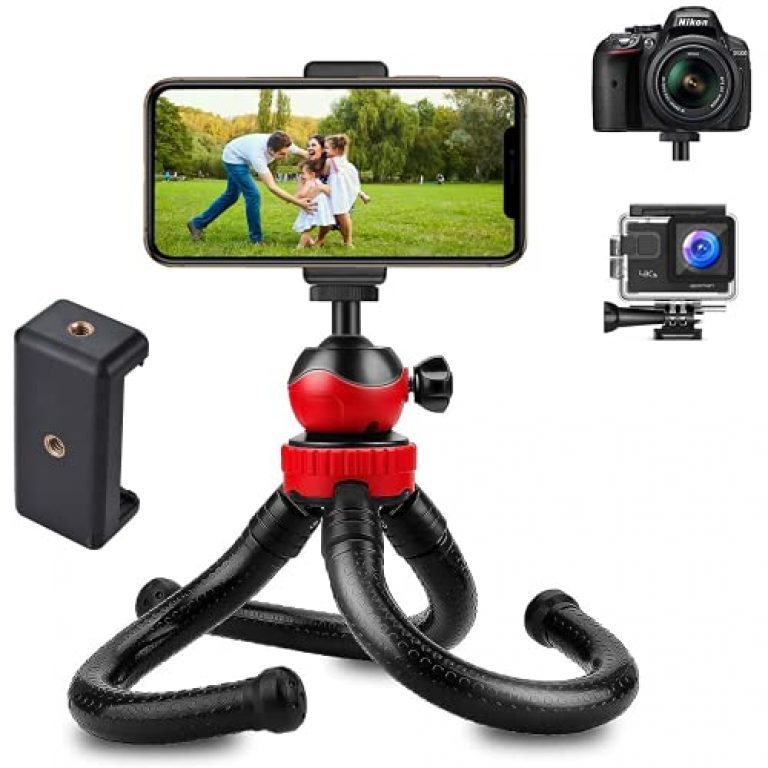 HUMBLE® Octopus Tripod Foldable Flexible Tripod gorilla tripod Stand with Universal Mobile Holder for Vlogging Streaming Photography Compatible With All Smartphones, Action Cameras, and DSLR {(12 Inch) RED and BLACK}