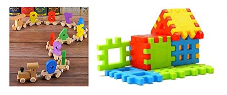 Happie Shopping Combination of Digital Number 0-9 Train Toy Set Wooden & (Building Block) for Kids/Babies Toy for Kids