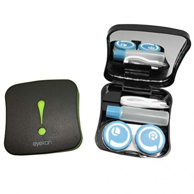 Healifty Contact Lens Travel Kit Case Box Container Holder with Tweezers and Solution Bottle Random Pattern