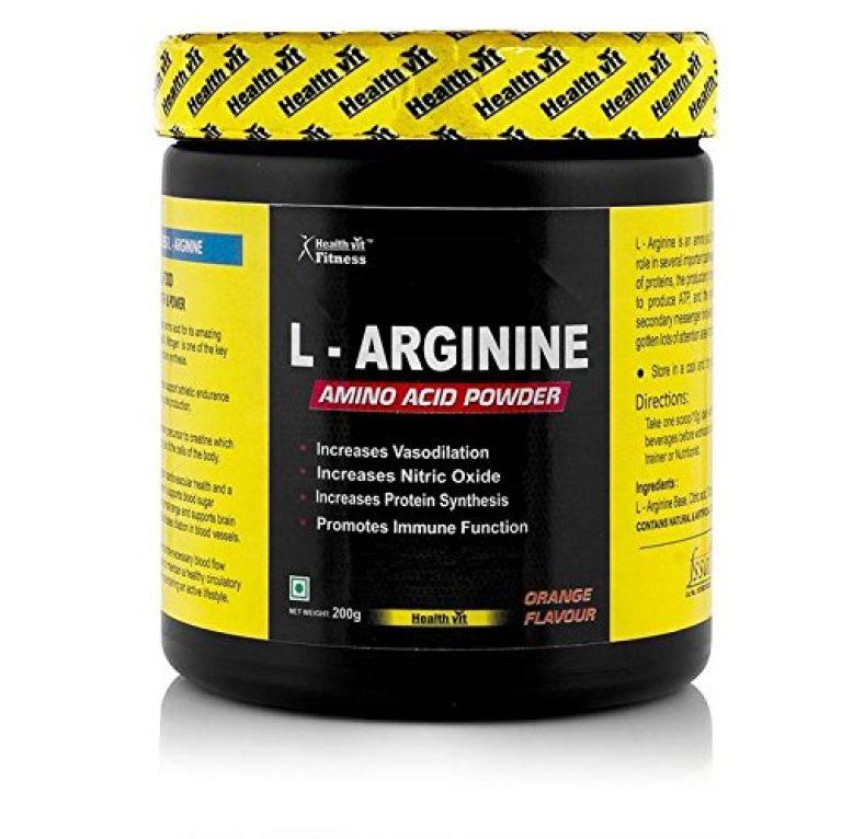Healthvit Fitness L Arginine Amino Acid Pre Workout Powder – 200 g (Orange)