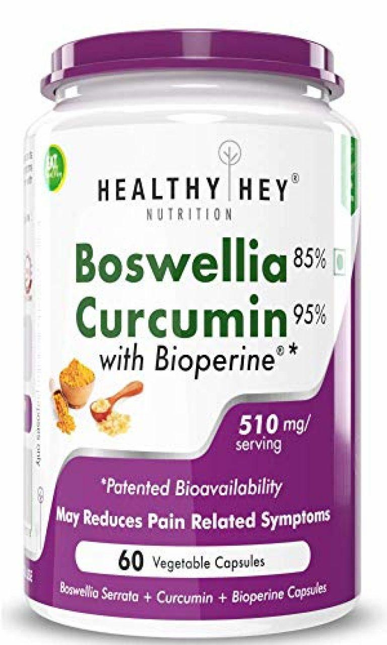 HealthyHey Nutrition Boswellia Serrata & Curcumin with Bioperine – 60 Vegetable Capsules (Pack of 1)