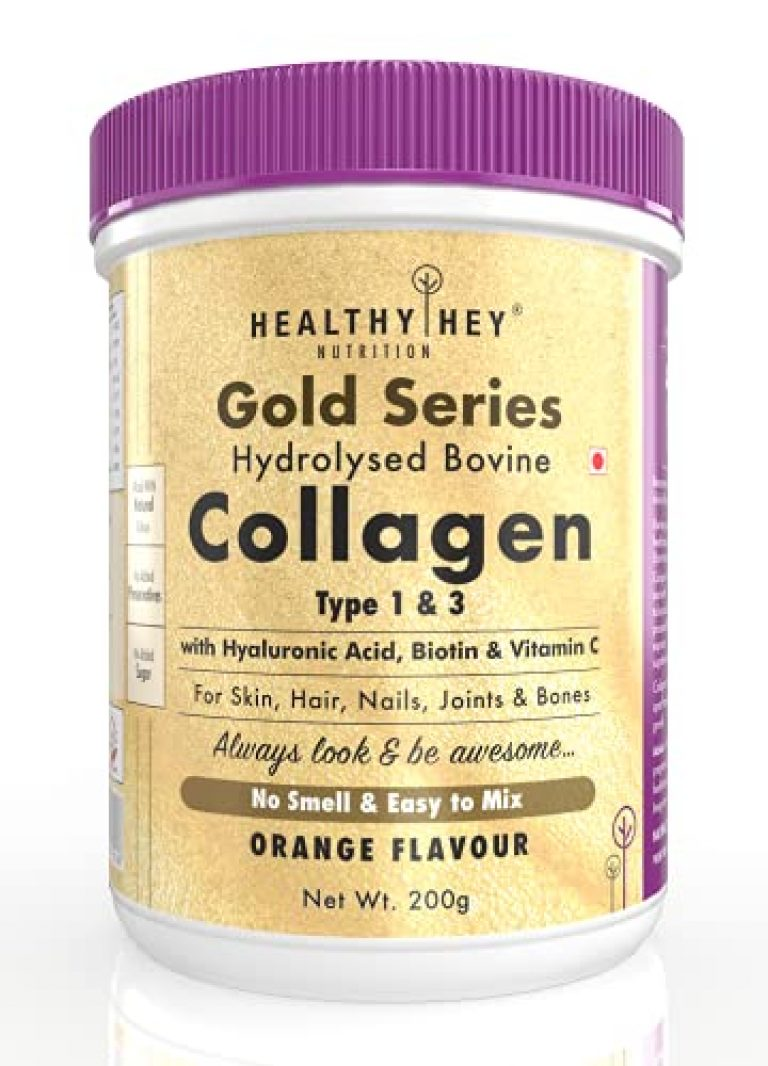 HealthyHey Nutrition Collagen Gold Series with Hyaluronic Acid, Biotin & Vitamin C – No Smell – Easy to Mix – No Added Sugar – For Skin, Hair & Nails (Orange, 200gm)