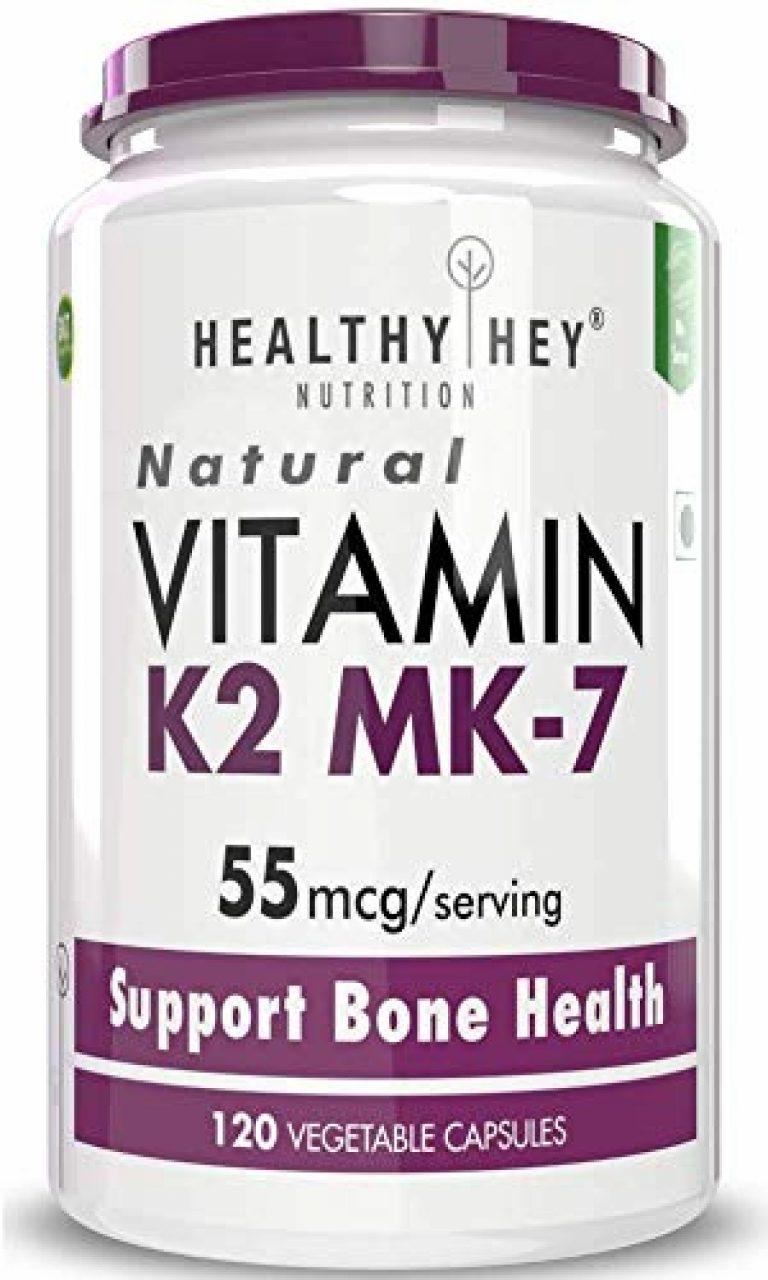Healthyhey Nutrition Vitamin K2-MK7-100% Vegetarian Source – Support Bone Health – 55mcg – 120 Vegetable Capsules (120)
