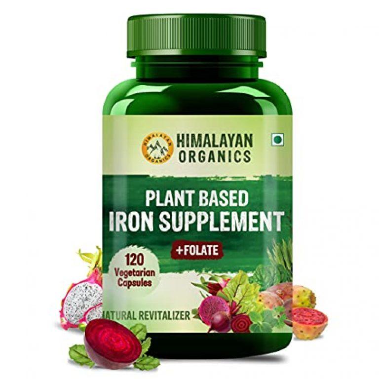 Himalayan Organics Plant Based Iron with Folate for Better Hemoglobin, Immunity, Oxygen Binding Capacity – 120 Veg Capsules