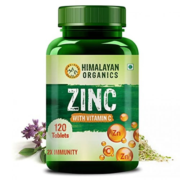 Himalayan Organics Zinc Citrate Supplement with Vitamin C & Alfalfa | Supports Healthy Immune System | 120 Veg Tablets