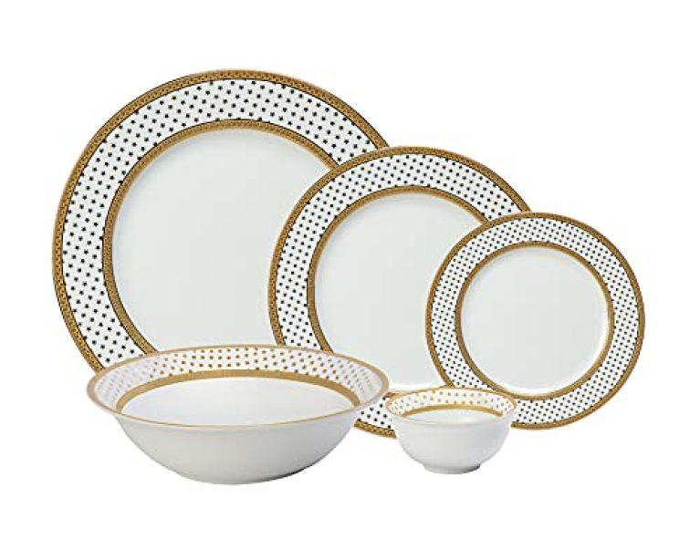 Hitkari Potteries Porcelain 13237 Dinner Set of 21Pcs, White, Standard