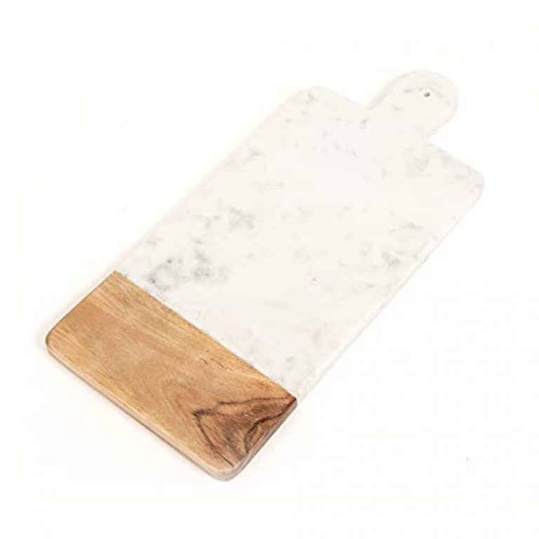 Home4U White Marble and Wood Eryk Platter with Handle (L-41, W-18 cm_White)