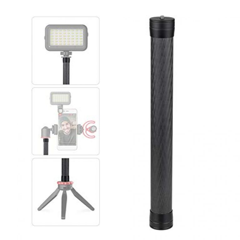 Honeytecs Stabilizer Extension Rod Carbon Fiber Bar Universal Handheld Photography Pole with 1/4 Inch Screw and Screw Hole for Gimbal Stabilizer DSLR SLR Cameras