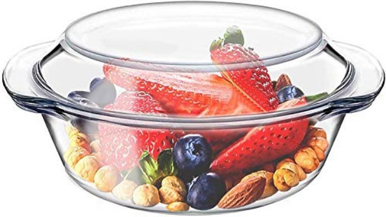 ISH Enterprise Oven and Microwave Safe Classic Glass Casserole Deep Round Serving Bowl with Glass Lid (1000ml Small Clear)