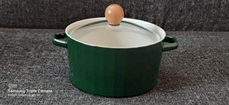 ISP Porcelain Serving Bowl/Casserole/Tureen with Glass Lid and Wooden knob in Glass (Microwave Safe) (750 ml) Serving Capacity-02 Persons.