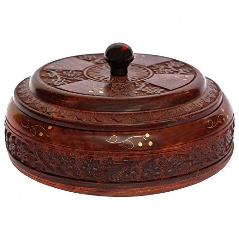 ITOS365 Handcrafted Wooden Box Pot Serving Bowl with Lid, for Small Chapatis 6.3 Inches