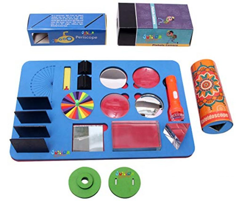 JUNIOR SCIENTIST Optical Work Station DIY KIT for BOY & Girls – KIT with Lens, Mirror, Prism, Periscope, Kaleidoscope & PINHOLECAMERA for School Science FAIR Project- STEM Learning Activity