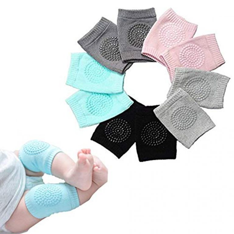 Jeval Baby Anti Slip Knee Pads for Crawling, Unisex Clothing Accessories Toddler Leg Warmer Safety Protective Cover Toddlers Learn to Socks Children Short Knee-pads Pack of 1 pcs (Sky Blue,Grey,Black)