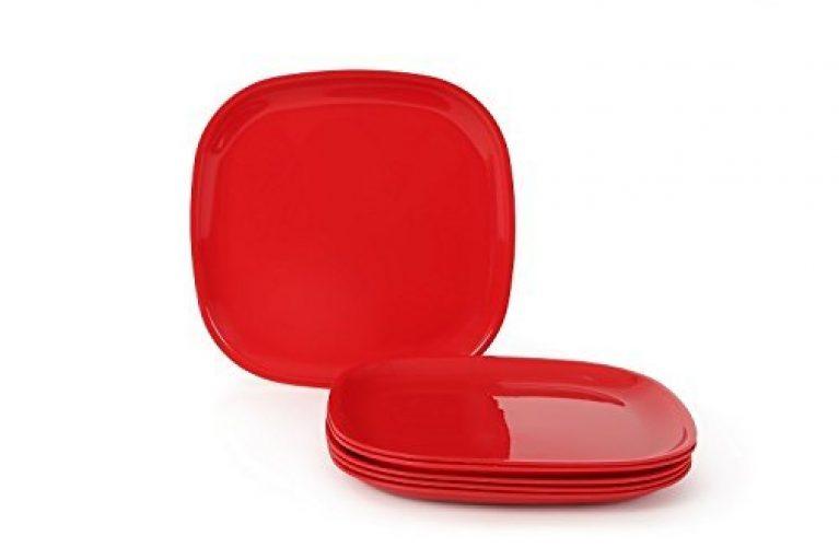 Joy Home Microwave Safe Quarter Plates 6 Pcs, Square, Cherry Red