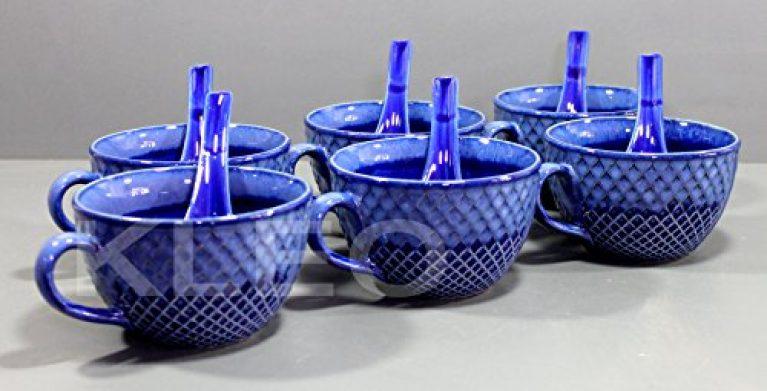 KLEO – Ceramic Porcelain Soup Bowls, Rice Bowls, Cereal Bowl, Dessert Bowl, Serving Bowls, Fruit Bowls Set- Studio Blue Yeni Soup Bowls – Set of 6-6 Bowls with 6 Spoons