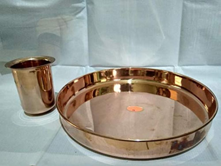 KUMBAKONAM TRADITIONAL BY SPS MARKETING COPPER PLATE FOR FOOD Copper Oval Serving Plate, Serving Dinner Restaurant Hotel Home WITH COPPER GLASS(27cm plate and 10cm tumbler, GOLD, Thali Plate, Serveware & Dinnerware)