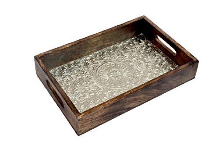 Kesha Spree Wooden Tray for Serving Tea |Coffee Tray Wooden |Bed Tray |Wooden Serving Tray for Snacks |Wood Tray for Decoration,Table Decor, Ottoman |Breakfast Tray Large |Ottoman Tray Medium 12×8″
