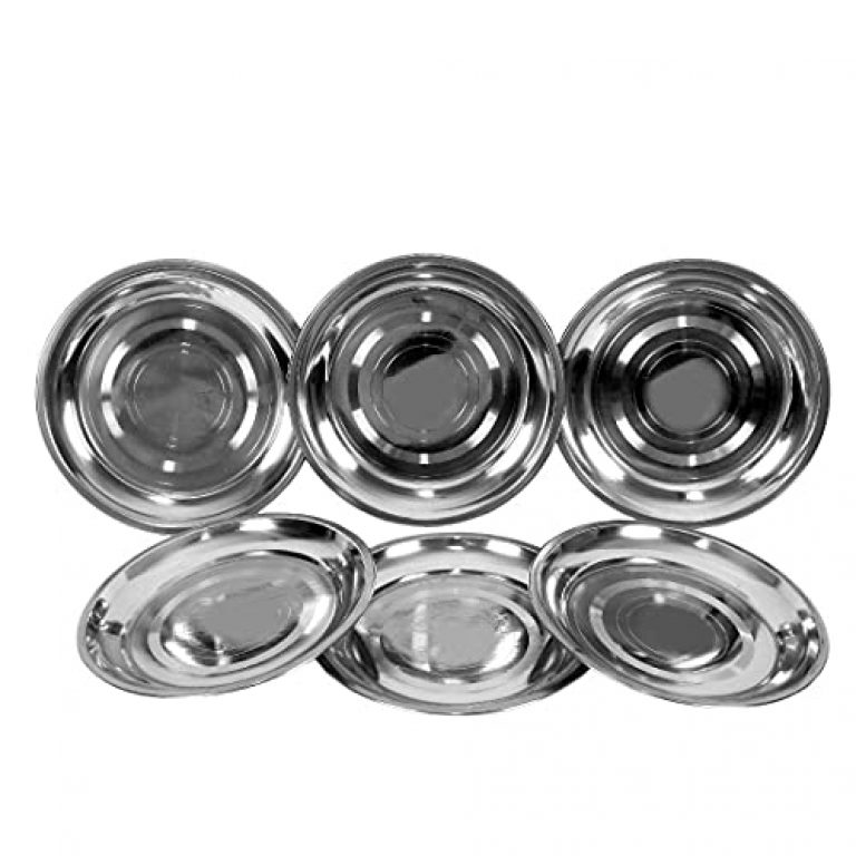 Kitchen Connect Stainless Steel Lightweight Small Plates for Regular Use/Side Serving Plates, Set of 6(Pieces), 7 Inch Quarter Plate