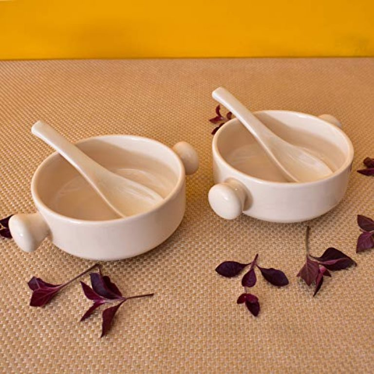 KunhaR Handled Ceramic Bowls – 400 ML, 2 Pieces, Spanish White with 2 Spoon