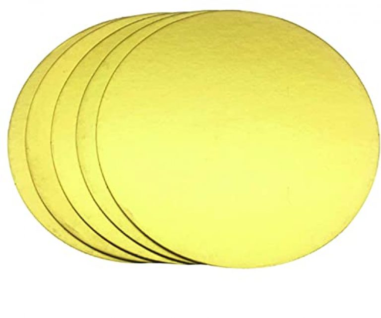 LEAWALL Cake Base(MDF Board) 10 Inch 5 Pieces Round. Golden Colour. Made in India
