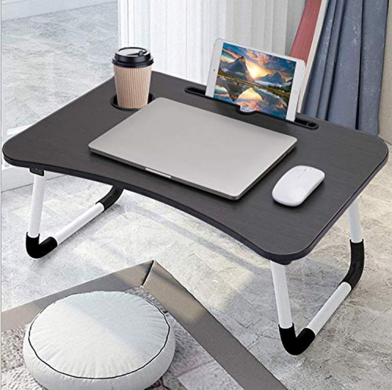 Laptop Desk, Laptop Bed Tray, Foldable Laptop Stand, Small Dormitory Table, Breakfast Serving Bed Tray, Dorm Desk, Notebook Table with Tablet Slots and Cup Holder, Perfect for Watching Movie