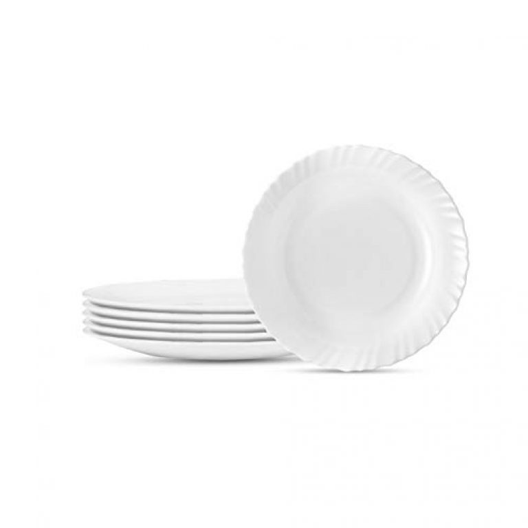 Larah By Borosil Opalware 11 inch Full Plate – Set of 6 – White