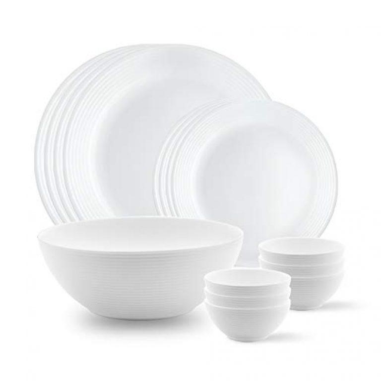 Larah by BOROSIL Opalware Dinner Set – 13 Pieces
