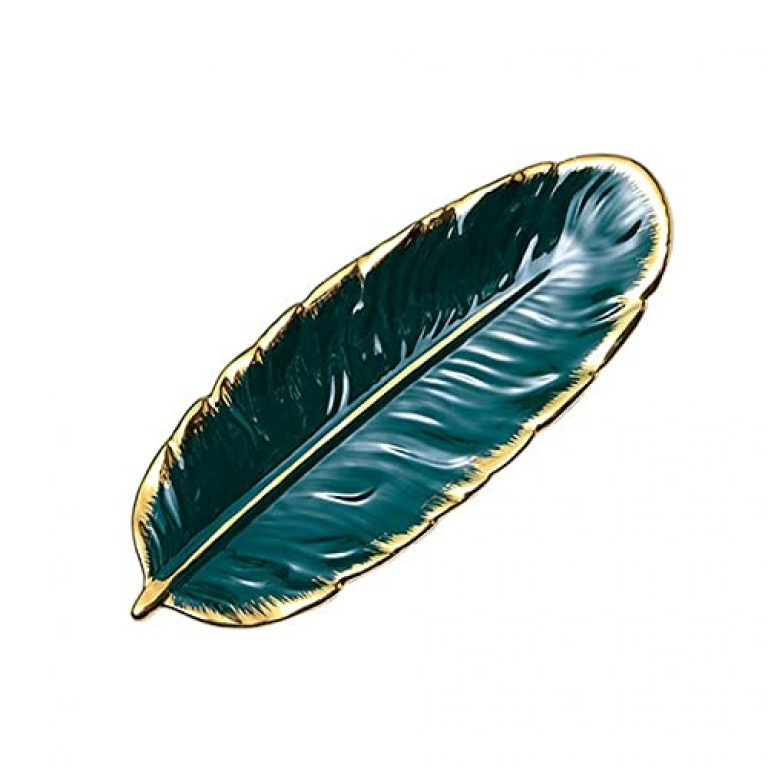 Leaf Plate Realistic Feather Tray Table Decoration Cera c Jewelry Ring Trinket Dish Holder Decorative Serving Tray for Fruit Snack Dessert Jewelry (GreenSmall) -Layfoo