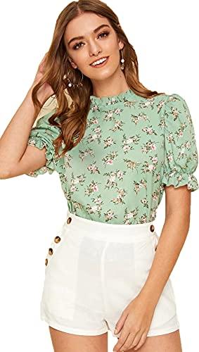 Lymio Women's Regular Color Chocker Neck Half Sleeve Polyester Digital Printed Top