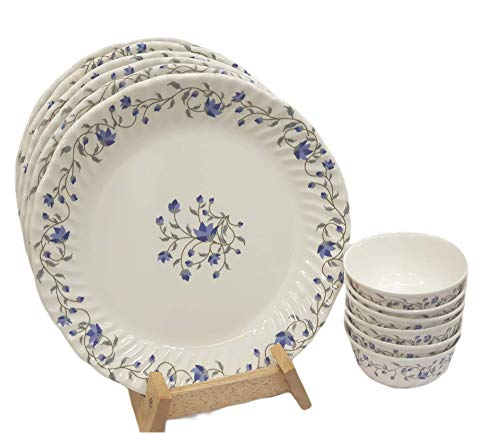 MACHI Imported 100% Pure Melamine Curvy 12PCS Set (Full Plate-6, Curry Bowl-6)-Miracle Blue